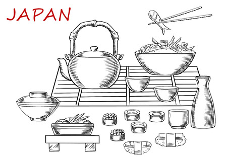 sashimi: Japanese seafood sketch with sashimi and sushi rolls below a table set with a teapot, fresh salad and bowl of rice and prawns with one held in chopsticks. Vector sketch
