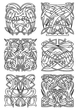 cicogna: Airone, Cicogna e gru uccelli ornamenti o modelli per la progettazione o celtica irlandese stile e di abbellimento. ornamento stilizzato Vintage, può essere utilizzato come un totem o un tatuaggio