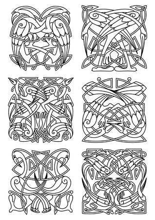 Heron, stork and crane birds ornaments or patterns for celtic or irish style design and embellishment. Vintage stylized ornament, may be used as a totem or tattoo