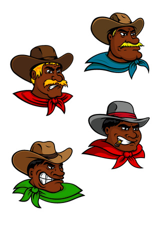 rancher: Cartoon western brutal cowboys and sheriff characters for justice, farming and comics design