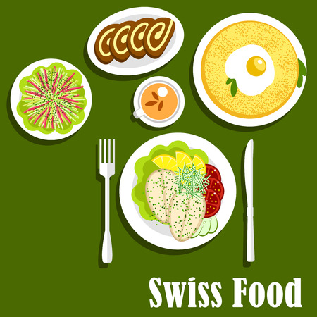swiss roll: Swiss national cuisine breakfast with potato rosti, topped with fried egg, fish steaks served with lemons, tomatoes and cucumbers, vegetable salad and chocolate swiss rolls with milk tea