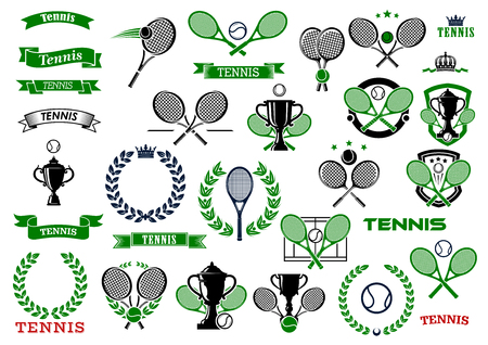 Tennis sport game icons and symbols wit heraldic elements as rackets, laurel wreath, banners, ribbons, trophy, balls and crowns Иллюстрация