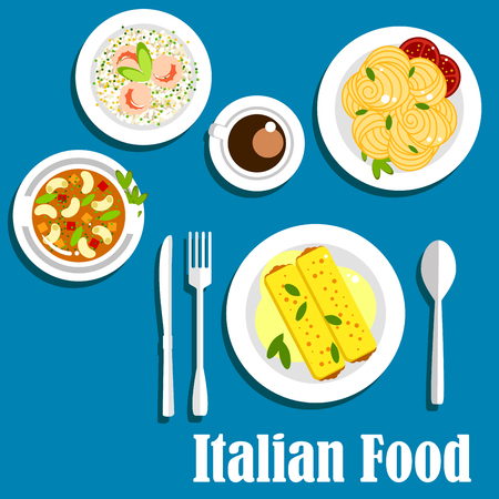 bolognese: Popular dishes of italian cuisine with stuffed cannelloni pasta, bolognese sauce, vegetarian bean soup, risotto with shrimps, spaghetti with tomatoes and espresso coffee cup Illustration