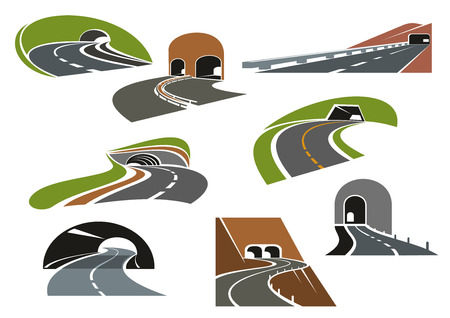 highway tunnels: Road tunnels symbols for travel, car trip and transportation design. Colorful icons of underpass freeways and mountain highways leading to tunnels with decorative arched and square entrances