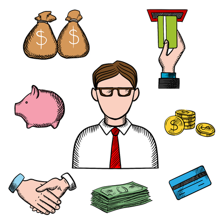 Banker profession icons with businessman in glasses and financial icons such as money bags, ATM and credit card, handshake and piggy bank, dollar coins and bills