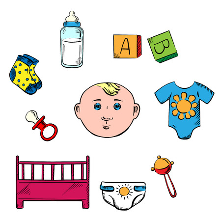 nipple: Little boy and childish toys icons with rattle, panties, cot, nipple, socks and cubes