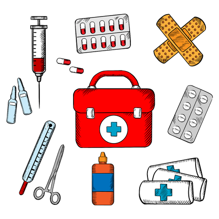 Ambulance concept with a vector icons of a first aid kit surrounded by plasters, medication, forceps, syringe and tablets depicting healthcare. For medicine and infographic design