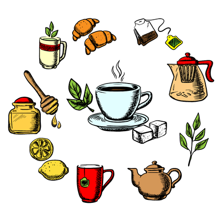 Herbal tea design with cup of hot tea on saucer, mint leaves, sugars, lemon and croissant surrounded teapots and cups, honey jar with dipper, tea bag, tea leaves and ginger. Vector icons
