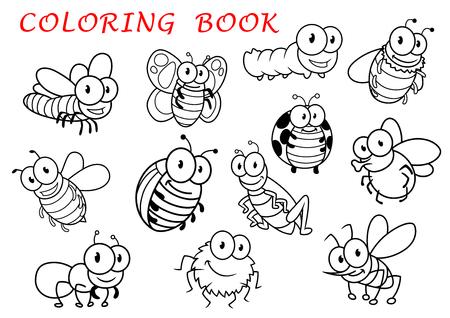 caricatura mosca: Aislado Animales esquema de insectos personajes con mosca y libélula, mariposa y el mosquito, la oruga y la abeja, la araña y la avispa, Mariquita y saltamontes, insectos y hormigas. Para el uso de libro para colorear Vectores
