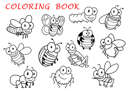 spider cartoon: Isolated outline insect animals characters with fly and dragonfly, butterfly and mosquito, caterpillar and bee, spider and wasp, ladybug and grasshopper, bug and ant. For coloring book usage