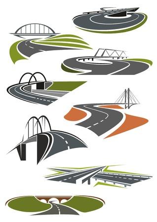 Icônes de routes asphaltées et autoroutes avec des ponts
