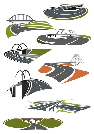 highway: Icons of asphalt roads and highways with bridges Illustration