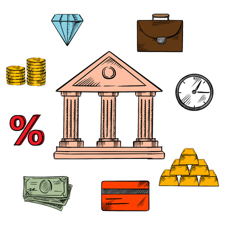 commodities: Banking, business and finance icons with a central bank building encircled by money, gold bullion and briefcase, clock and diamond, commodities and investment, credit card and rate percentage