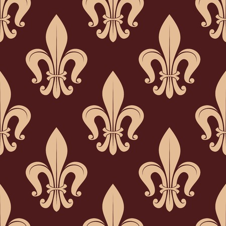 royal french lily symbols: Brown and beige royal seamless pattern with french beige lilies on dark background Illustration