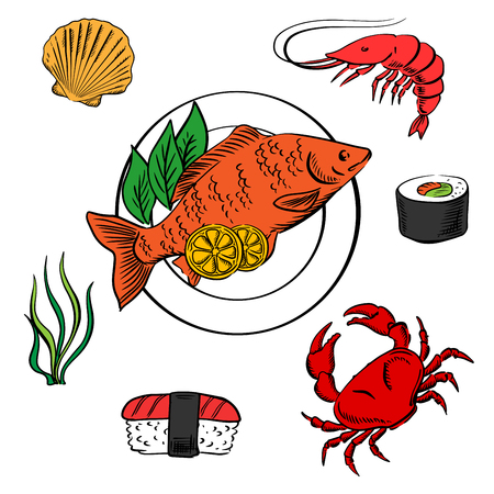 delicatessen: Seafood delicatessen icons with shrimp and sushi roll, crab, sushi nigiri, seaweed and shellfish, served on plate with lemon slices and salad Illustration