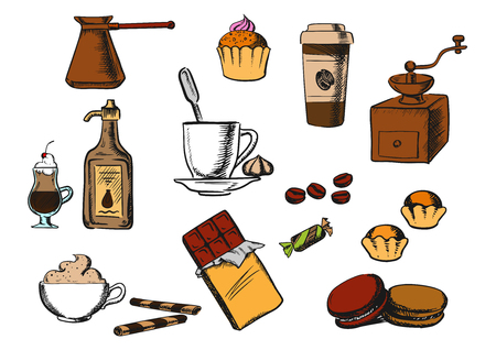 coffee grinder: Coffee and dessert icons with cup of coffee on saucer, coffee beans and candies with ice cream, cakes, cappuccino, liquor, takeaway cup, chocolate, vintage coffee grinder and copper pot Illustration