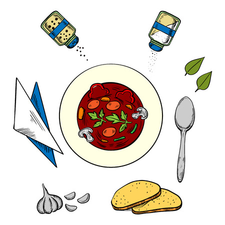 condiments: Dinner with a bowl of hot soup view from above surrounded by white bread, herbs and seasoning condiments, napkin and spoon