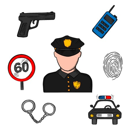 cockade: Policeman profession concept with officer in black uniform surrounded by police car, portable radio transceiver, fingerprint, handcuffs, gun and speed limit sign