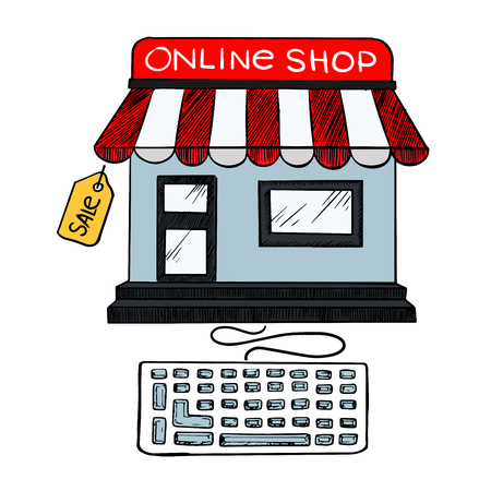 internet sale: Online internet or e-commerce web shop sale icon of little store with red and white awning attached to a computer keyboard and a label Sale Illustration