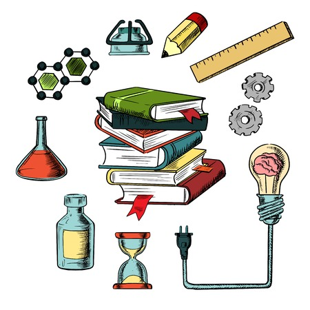 plugged: Knowledge, science  and web education design with a light bulb plugged into a tall stack of books surrounded by scientific and media icons. Colorful vector with flasks, tubes, bottles, pencil, hourglass, ruler, gear, books and light bulb with brain