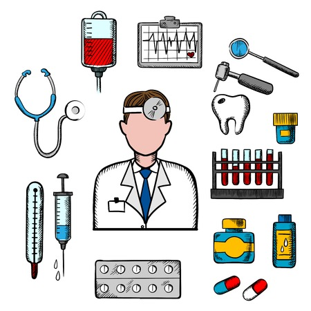 blood transfusion: Doctor therapist in flat style with medical icons as tubes, flasks, drugs and pills, syringe, dentistry, blood transfusion, ultrasound stethoscope Illustration