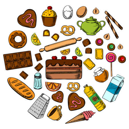baking bread: Pastry, dessert and confectionery icons with various bread, cakes, cupcakes, baking ingredients and kitchen utensil