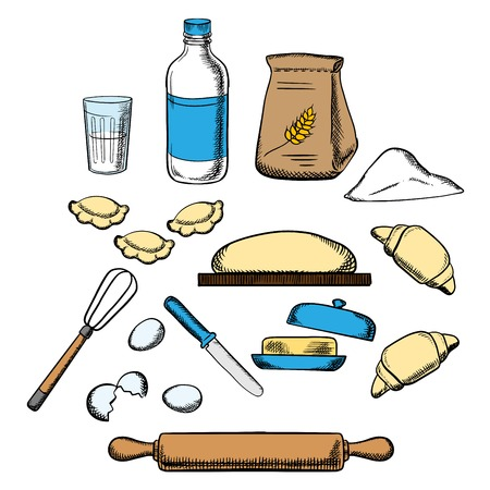 kitchen cartoon: El proceso de cocido amasando la masa con los iconos de la pasta, leche, mantequilla, huevos, harina y utensilios de cocina