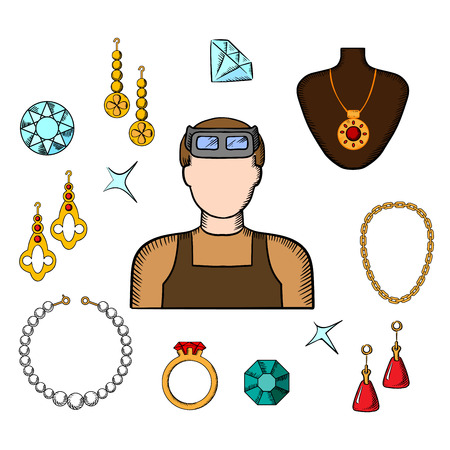 bracelets: Jeweler or goldsmith profession design with luxury jewelries as earrings, ring and pendant with red gems, chain, bracelets and man in professional glasses Illustration