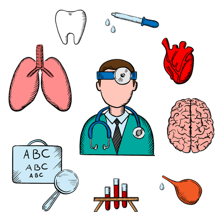 eye doctor: Medical icons with doctor encircled by an eye chart, lungs, tooth, eye, dropper, test tubes , brain and heart depicting examination, diagnosis and treatment