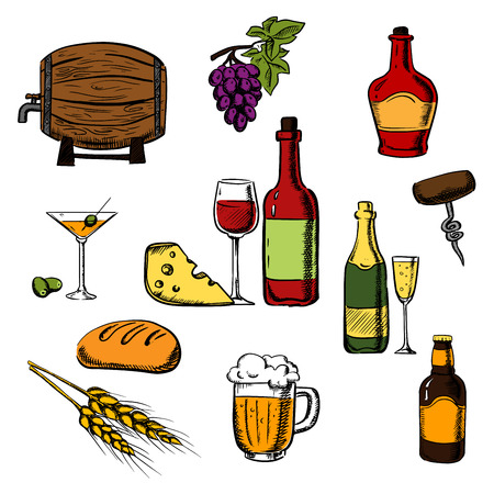 wooden barrel: Alcohol drinks or beverages with bottles of wine, beer, champagne, brandy, filled wineglasses, wooden barrel, cocktail glasses, olives and some bread, cheese and grape for party or restaurant menu design