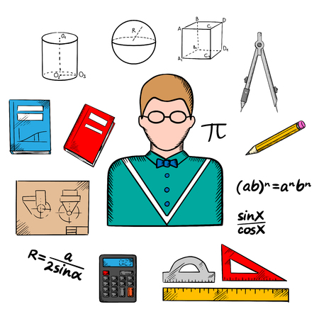 Mathematician profession with teacher in glasses encircled by formulas, calculator and rulers, compasses and pencil, textbooks, drawing and geometric figures