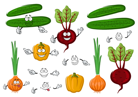 pepino caricatura: veh�culos agr�colas frescos y sabrosos con pimiento, remolacha roja, pepino y cebolla verde naranja. Para el libro de recetas, comida vegetariana o la agricultura el uso del dise�o
