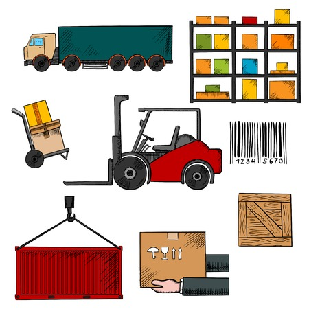 shelving: Delivery, shipping and freight infographic elements with truck, crate, barcode, container, shelving, loader and wooden box Illustration