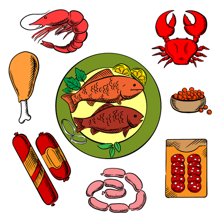 meat food: Seafood, chicken and meat food icons with fish, crab, prawn, caviar, sausage, wurst and chicken for shop or restaurant menu design