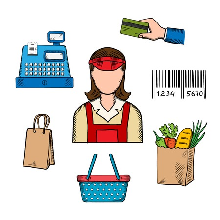 shop assistant: Seller profession and  shopping icons of bag, till or cash register, credit card payment, bar code and bag of groceries around a female shop assistant