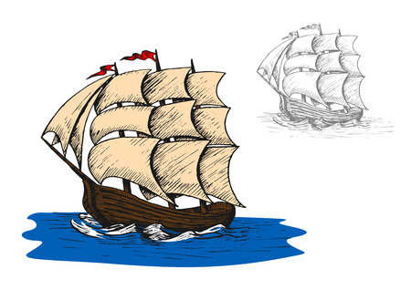 sip: Old sail sip in ocean water. Travel, adventure and marine themes