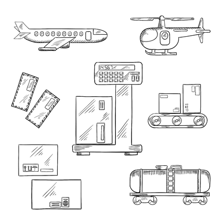 conveyor rail: Air and rail freight or delivery service icons with airplane, helicopter, tank wagon, letters and delivery boxes with packaging signs on a scales and a conveyor belt
