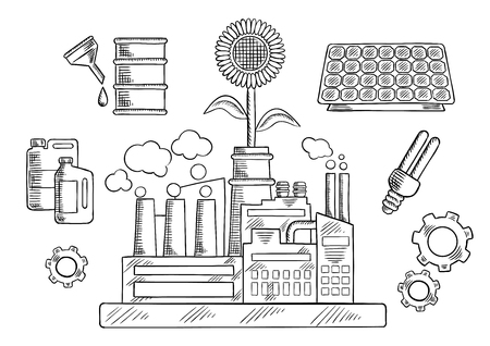 bio fuel: Save energy and ecology icons with industrial plant surrounded by solar panel and fluorescent light bulb, sunflower, gears and bio fuel tanks