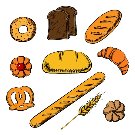 long loaf: Fresh bakery icons with round loaf of rye bread encircled by long loaf, toasts, french baguette, salty pretzel and sweet cookie, donut, croissant and bun. Vector illustration
