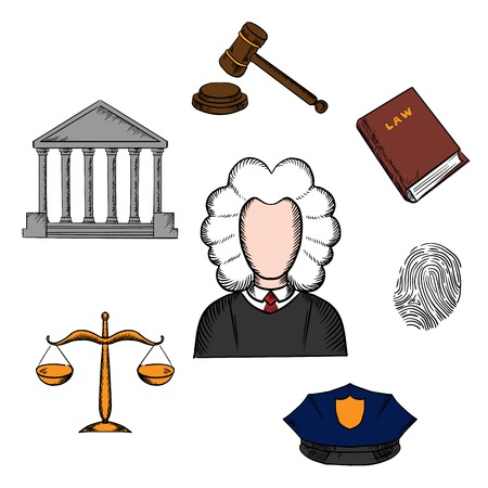 Law, judge and justice icons surrounding a lawyer with a courthouse, law book, fingerprint, police cap, scales and gavel. Lawyer profession concept