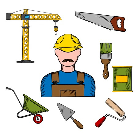 paint can: Builder profession and construction tools icons with man in yellow hard helmet and tower crane, hand saw and trowel, paintbrush and paint can, wheelbarrow and paint roller