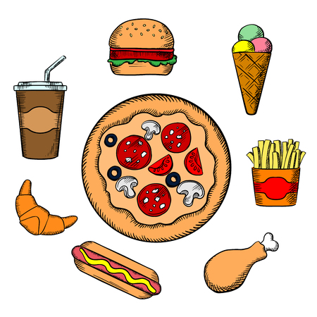 pepperoni pizza: Fast food icons  with pepperoni pizza, burger, soda, french fries, ice cream cone, hot dog, croissant and chicken leg snacks