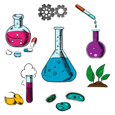 experiments: Science experiment design with a cloud of vapor, gear wheels above a conical flask and tubes with additional glassware for pharmaceutical, chemical, botanical and medical research concept design Illustration