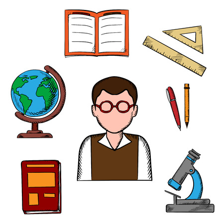 classwork: Education sketch design with a teacher surrounded by a notebook and pen, ruler and book, open classwork, microscope and globe