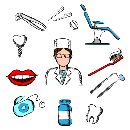 toothy smile: Dentistry design with female dentist in glasses and white uniform, dental equipment and hygiene icons of toothy smile, chair, tooth implant, floss, brace, pills, toothbrush, toothpaste