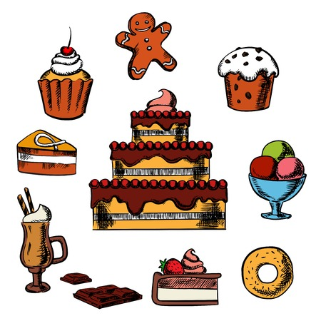 gingerbread cake: Sweet desserts with three tiered cake decorated with cream, berries, cupcakes, ice cream, donut, slices of honey cake and cheesecake, gingerbread man and hot chocolate