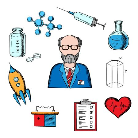 Different sciences and research concept with silhouette of a scientist surrounded by medical, biology, space, mechanic, geometry and scientific icons