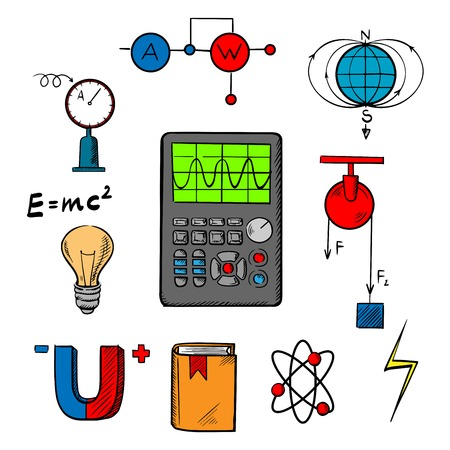 schemes: Physics science symbols such as magnet, electric power, atom model, Earth magnetic field, book, formulas, schemes and tools. For education or scientific concept design