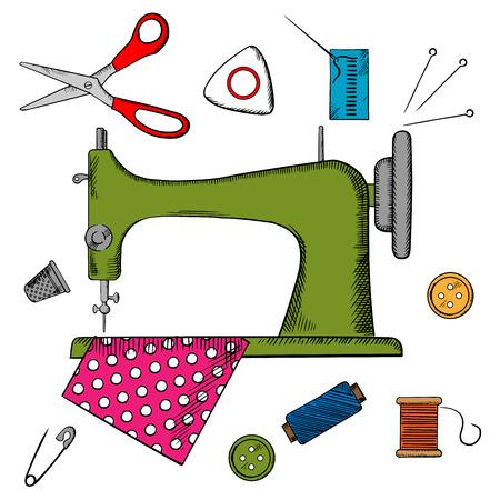 Iconos de coser coloridos que rodean una máquina de coser con el perno, hilo, hilo, dedal, el botón y el paño. ilustración vectorial