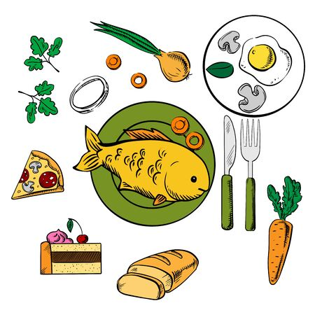 fried fish: Fresh dinner food and snack vector icons with cake, carrot and onion vegetables, fried eggs, pizza and sliced bread surrounding a central plate with fish